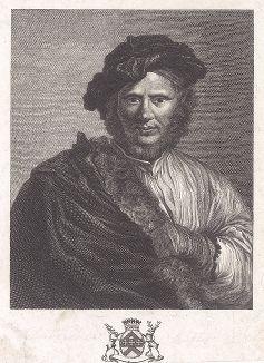 Мужской портрет (Предводитель разбойников) работы Сальватора Розы, ранее из коллекции Роберта Уолпола, а ныне находящийся в Эрмитаже. Лист из издания The Houghton Gallery, Лондон, 1777.