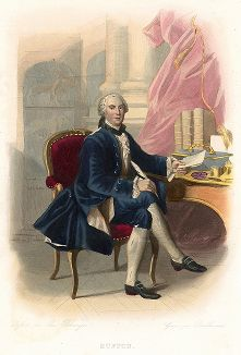 Жорж-Луи Леклерк, граф де Бюффон (1707-1788) - знаменитый французский натуралист. Лист из серии Le Plutarque francais..., Париж, 1844-47 гг.