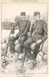 Солдаты гренадерского батальона Småland в униформе образца 1872-86 гг. Svenska arméns munderingar 1680-1905. Стокгольм, 1911