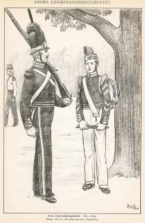 Шведские гренадеры полка Andra в униформе образца 1831-45 гг. Svenska arméns munderingar 1680-1905. Стокгольм, 1911