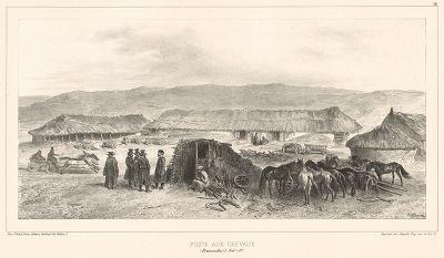 Почтовая станция в Бессарабии 5 августа 1837 года (из Voyage dans la Russie Méridionale et la Crimée... Париж. 1848 год (лист 28))