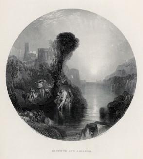 """Вакх и Ариадна (лист из альбома """"Галерея Тёрнера"""", изданного в Нью-Йорке в 1875 году)"""