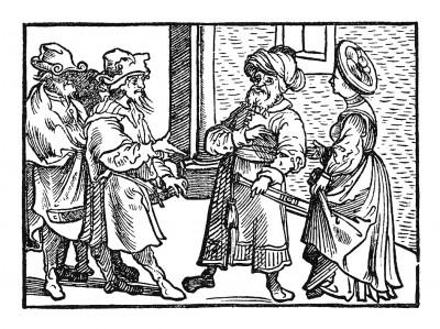 Мамелюки. Иллюстрация Йорга Бреу Старшего к описанию путешествия на восток Лодовико ди Вартема: Ludovico Vartoman / Die Ritterliche Reise. Издал Johann Miller, Аугсбург, 1515