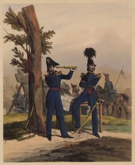 Штаб-офицер и майор Генерального штаба армии королевства Вюртемберг (литография из Das Koniglich Wurttembergische Militair... Вюрцбург. 1840 год)
