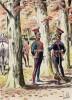 """Офицеры 3-го полка лёгкой кавалерии (уланы) в парадной форме образца 1812 года (иллюстрация к работе """"Императоская Гвардия в 1804--1815 гг."""" Париж. 1901 год. (экземпляр № 303 из 606 принадлежал голландскому генералу H. J. Sharp (1874 -- 1957))"""
