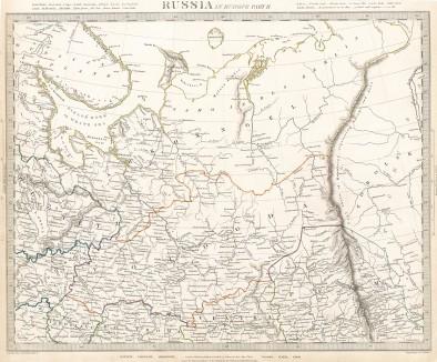 Карта Европейской России (часть 2). Maps of the Society for the Diffusion of Useful Knowledge. Лондон, 1835