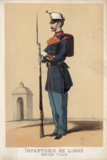 1860-е гг. Рядовой испанской линейной пехоты в парадной форме (из альбома литографий L'Espagne militaire, изданного в Париже в 1860 году)
