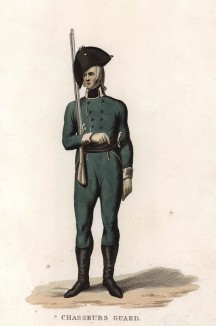 Русский гвардейский егерь (лист 4 редкой работы The Costume of the Russian Army, from a Collection of Drawings made on the spot of the Right Honourable The Earl of Kinnaird, изданной в Лондоне в 1807 году)