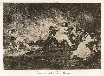 """Они спасаются сквозь пламя. Лист 41 из известной серии офортов знаменитого художника и гравёра Франсиско Гойи """"Бедствия войны"""" (Los Desastres de la Guerra). Представленные листы напечатаны в Мадриде с оригинальных досок около 1900 года."""