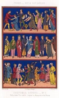 Прет-а-порте для средневекового француза: от лесоруба до короля (из Les arts somptuaires... Париж. 1858 год)