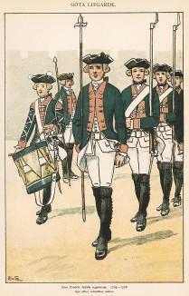 Шведские пехотинцы полка принца Фредрика-Адольфа в униформе образца 1765-78 гг. Svenska arméns munderingar 1680-1905. Стокгольм, 1911