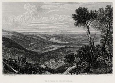 """Долина Эшбёрнхэм (лист из альбома """"Галерея Тёрнера"""", изданного в Нью-Йорке в 1875 году)"""