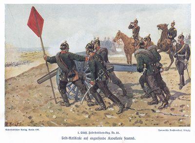 Выход на позиции. Униформа саксонской артиллерии в 1890 гг. Unser Vaterland in Waffen Ein patriotischer Hausschatz für das deutsche Volk und Heer, л.26. Берлин, 1900
