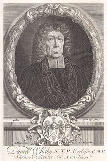 """Дэниэл Уитби (1638--1726) - английский теолог и проповедник, известный как активный противник кальвинизма и стороник унитаризма. Фронтиспис к его работе """"'Commentary on the New Testament'"""", Лондон, 1700."""