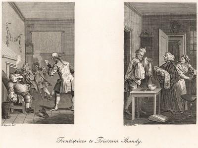 Фронтисписы ко второму и четвертому томам трагикомедийного романа «Жизнь и мнения Тристрама Шенди, джентльмена» известного английского писателя Лоренса Стерна (1713-68), личного друга Хогарта. Выполнены в 1759 и 1761 гг. Лондон, 1838