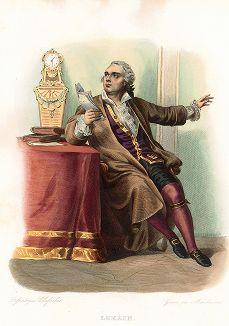 Анри-Луи Кайн, известный как Лёкен (1729-1778) - французский актер. Лист из серии Le Plutarque francais..., Париж, 1844-47 гг.