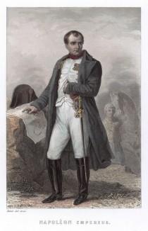 Император Франции Наполеон I. Гравюра на стали. Париж, 1849