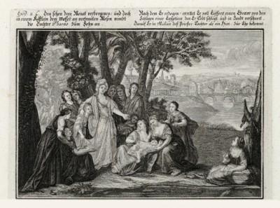 Египетская царевна находит младенца Моисея (из Biblisches Engel- und Kunstwerk -- шедевра германского барокко. Гравировал неподражаемый Иоганн Ульрих Краусс в Аугсбурге в 1700 году)