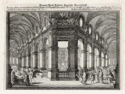 Пир Товия (из Biblisches Engel- und Kunstwerk -- шедевра германского барокко. Гравировал неподражаемый Иоганн Ульрих Краусс в Аугсбурге в 1694 году)