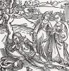 """Рыцарь де Ла Тур спит в своем саду, а его дочери прогуливаются (иллюстрация к книге """"Рыцарь Башни"""", гравированная Дюрером в 1493 году)"""