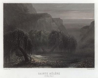 Могила Наполеона на острове Святой Елены. Гравюра на стали. Париж, 1834