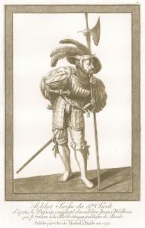 Швейцарский солдат XVI века, вооружённый алебардой (акватинта, выполненная по рисунку Ганса Гольбейна младшего, хранящемуся в публичной библиотеке города Базеля. Базель. 1790 год)