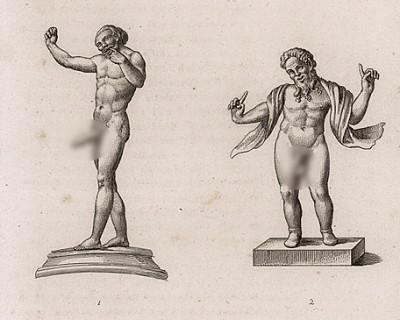 Два мима-шута во фривольных позах. Оригинал - бронзовые статуи. Высота около 2 дюймов. Мимы-шуты в Древней Греции вызывали смех средствами пантомимы. С помощью жестов мимы имели право говорить о запретном.