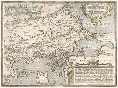 Карта древней Фракии. Thraciae Veteris Typus. Составил Абрахам Ортелиус. Антверпен, 1590