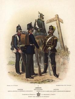 Офицер и нижние чины ландвера в униформе образца 1870-х гг. Preussens Heer. Берлин, 1876