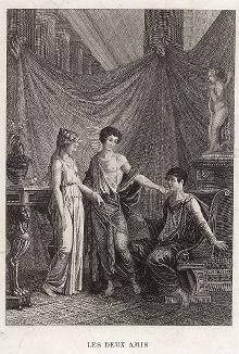 "Иллюстрация к басне Лафонтена ""Les Deux Amis""."