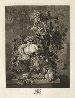 Натюрморт с цветами. Меццо-тинто Ричарда Ирлома по оригиналу Яна ван Хейсума. Лист из издания The Houghton Gallery, Лондон, 1778 год.