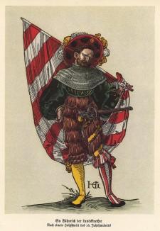Швейцарский ландскнехт-знаменосец (по рисунку Ганса Гольбейна младшего) (из популярной в нацистской Германии работы Мартина Лезиуса Das Ehrenkleid des Soldaten... Берлин. 1936 год)