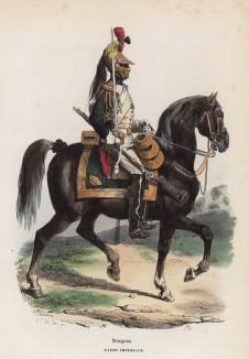 Гвардейский драгун (из популярной работы Histoire de l'empereur Napoléon (фр.), изданной в Париже в 1840 году с иллюстрациями Ораса Верне и Ипполита Белланжа)