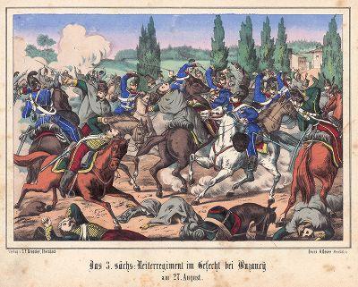 Франко-прусская война 1870-71 гг. 3-й полк саксонской кавалерии в сражении при Бузанси (Пикардия) 27 августа 1870 г. Редкая немецкая литография