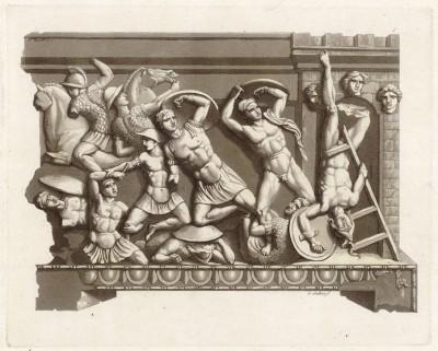 Защитники города (этрусский барельеф) (из знаменитой работы Джулио Феррарио Il costume antico e moderno, o, storia... di tutti i popoli antichi e moderni, изданной в Милане в 1820 году (Европа. Том II))