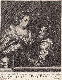 Великий итальянский живописец Тициан Вечеллио (1485 -- 1576) и его любимая жена Сесилия. Зеркальная копия с гравюры Ван Дейка, которую он, в свою очередь, сделал с полотна самого Тициана.