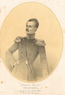 Генерал-майор Диомид Васильевич Пассек (1808-1845), падший в бою 11 июля 1845 года в Даргинскую экспедицию (Русский художественный листок. № 7 за 1852 год)