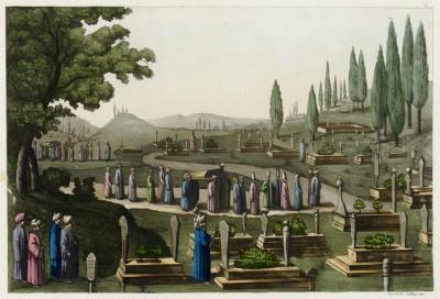 Мусульманское кладбище (из работы Джулио Феррарио Il costume antico e moderno, o, storia... di tutti i popoli antichi e moderni, изданной в Милане в 1816 году (Европа. Том I))