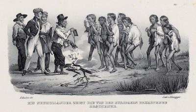 Торговая сессия европейцев и коренных жителей Новой Голландии (историческое название Австралии до 1824 года) (лист 33 второго тома работы профессора Шинца Naturgeschichte und Abbildungen der Menschen und Säugethiere..., вышедшей в Цюрихе в 1840 году)