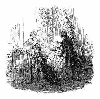 Иллюстрация к рассказу, написанному британской писательницей и поэтессой, светской львицей -- баронессой де Калабреллой (1793 -- 1857), получившей свой титул, приобретя землю во Франции (The Illustrated London News №100 от 30/03/1844 г.)
