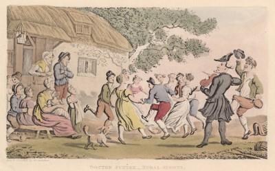 """Доктор Синтакс играет на скрипке на деревенском празднике. Иллюстрация Томаса Роуландсона к поэме Вильяма Комби """"Путешествие доктора Синтакса в поисках живописного"""", л.19. Лондон, 1881"""