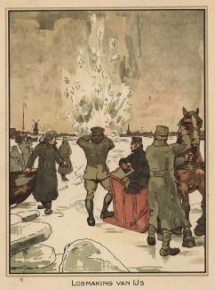 Взрыв мины, принесённой течением к берегам Голландии (Losmaking van IJS (голл.). Из редкой брошюры, изданной военным ведомством нейтральной Голландии зимой 1915 года)