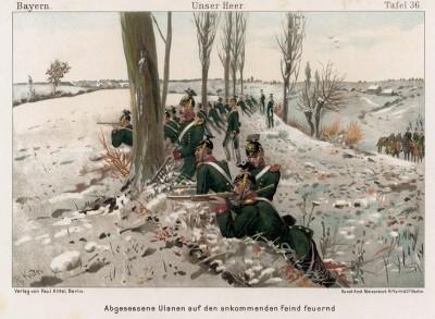 Баварские уланы на линии огня в 1890-е гг. Vaterland in Waffen. Illustrierte Unterhaltungsblätter für das deutsche Volk und Heer, л.36. Берлин, 1895