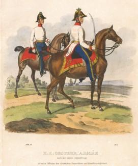 Штаб-офицер и батальонный адъютант полка немецких гренадер австрийской армии (из K. K. Oesterreichische Armée nach der neuen Adjustirung in VI. abtheil. II te. Abtheil. Infanterie. Лист 1. Вена. 1837 год)