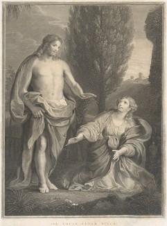 Иисус Христос и Мария Магдалина в саду.  Гравюра Джона Шервина с запрестольного образа капеллы колледжа All Souls в Оксфорде, написанного Антоном Рафаэлем Менгсом. Лондон, 1784