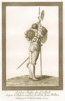 Швейцарский солдат XVI века, вооружённый алебардой, мечом и коротким кинжалом (акватинта, выполненная по рисунку Ганса Гольбейна младшего, хранящемуся в публичной библиотеке города Базеля. Базель. 1790 год)