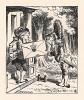"""""""Герцогине, -- произнес он с необычайной важностью. -- От Королевы. Приглашение на крокет"""". (иллюстрация Джона Тенниела к книге Льюиса Кэрролла «Алиса в Стране Чудес», выпущенной в Лондоне в 1870 году)"""