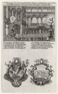 1. Восстановление Иосией Завета с Богом 2. Сцена из войны с Навуходоносором (из Biblisches Engel- und Kunstwerk -- шедевра германского барокко. Гравировал неподражаемый Иоганн Ульрих Краусс в Аугсбурге в 1700 году)