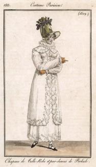 Тюлевая шляпка, украшенная гроздьями сирени, а также платье и плащик из белого перкаля. Из первого французского журнала мод эпохи ампир Journal des dames et des modes, Париж, 1813. Модель № 1309