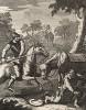 Дон Кихот, гравюра II, 1738. «Дон Кихот принимает тазик цирюльника за шлем Мамбрина». Дон Кихот нападает на цирюльника, надевшего в дождь на голову тазик для бритья. Он думает, что это золотой шлем Мамбрина, который он поклялся завоевать. Лондон, 1838